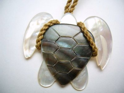 40mm Black/ White Mother Of Pearl Turtle Pendant with Brown Cord