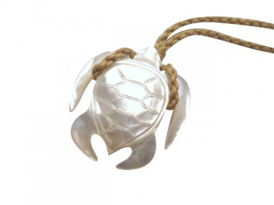 30mm White MOP Turtle Pendant with Brown Adjustable Cord