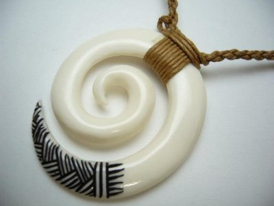 White Bone Spiral with Tribal Tattoo on Brown Adjustable Cord