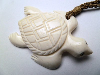 White Bone Trutle Necklace w/ Brown Adjustable Cord