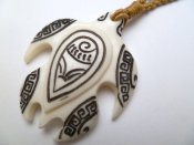 White Bone Turtle w/Ink Carved Necklace in Brown Adjustable Cord