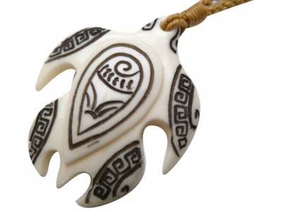White Bone Turtle W Ink Carved Necklace In Brown Adjustable Cord 35225 3 Unique Hawaiian Jewelry Gifts And Souvenirs Jkw Llc