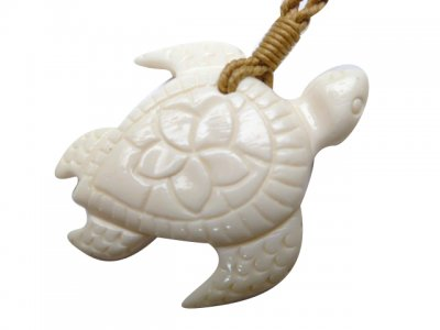 Bone Turtle Carved Plumeria W Brown Adjustable Cord 35226 Unique Hawaiian Jewelry Gifts And Souvenirs Jkw Llc