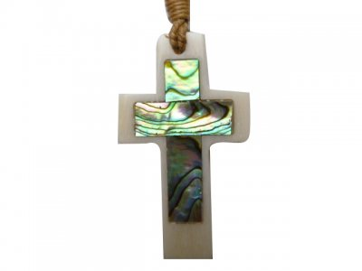 White Buffalo Bone Cross Pendant with Adjustable Brown Cord