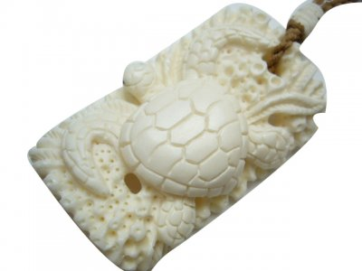 White Bone Turtle Pendant with Brown Adjustable Cord