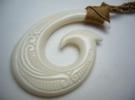 White Bone Carved Fish Hook w/ Adjustable Brown Cord