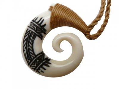 White Bufflo Bone Fish Hook Pendant with Brown Adjustable Cord