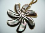 Black Mother of Pearl Tiare Flower with Brown Adjustable Cord