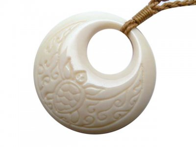 White Buffalo Bone Pendant with Brown Adjustable Cord