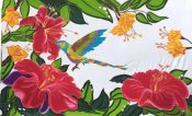 Hand Painted Tropical Flowers & Humming Bird Sarong