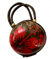 Hawaii Coconut bag Painted w/ Red Hibiscus