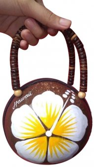 Hawaii Coconut Bag Painted w/ White Hibiscus & Yellow Pollan