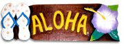 """Aloha"" w/ Flower and Sliper Wooded Sign"