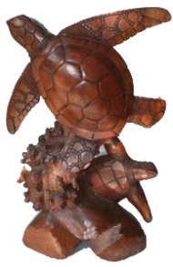 "16"" Hand Carved Double Wood Standing Turtles, 8pcs/case"