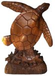 "8"" Wood Carved Standing Sea Turtle"