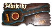 """Wakiki Tiki Bar"" w/ Ukelele Wooden Sign"