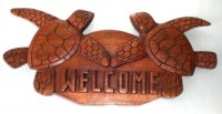 "14"" Welcome w/ 2 Turtle Wood Sign"