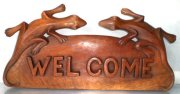 """ Welcome"" w/ 2 Gecko Wooden Sign"