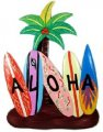 Aloha Surfboard w/ Palm Tree Wood Sign
