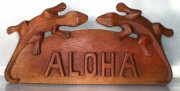 """ Aloha"" w/ 2 Gecko Wooden Sign"