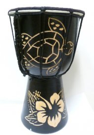 25cm, Hawaii Hibiscus & Turtle Carved Wood Drum In Black