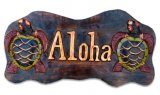 """Aloha"" w/ Turlte Wooden Sign"