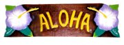"""Aloha"" w/Purple Hibiscus Wooden Sign"