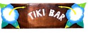 """Tiki Bar"" w/ Blue Hibiscus Wooden Sign"