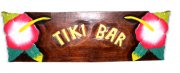"""Tiki Bar"" w/ Red Hibiscus Wooden Sign"