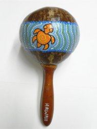 Hawaii Coconut Maracas w/ Painted Turtle