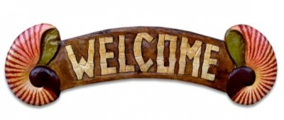 """Welcome"" w/Shell Wooden Sign"