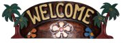 """ Welcome"" w/ Palm Tree Wooden Sign"
