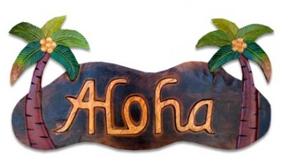 """Aloha"" w/ Palm Tree Wooden Sign"