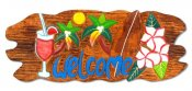 """Welcome"" and Drink Wooden Sign 20""x7"""