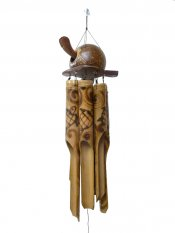 40cm Hawaii Bobbing Turtle Head Coconut Bamboo Wind Chime