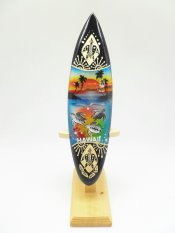 21cm Turtle carved, Painted Wood Surfboard w/ Stand