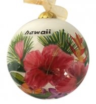 Hand Painted Hawaii Tropical Flower Christmas Ornament