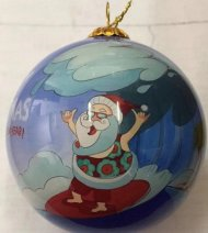 Hand Painted Hawaii Surfing Santa Christmas Ornament
