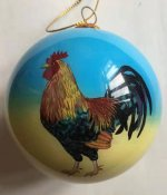 Hand Painted Hawaii Rooster Christmas Ornament