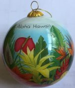 Hand Painted Hawaii Tropical Flowers Christmas Ornament