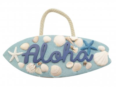 """Aloha"" Blue Sand Natural Sea Shell Resin Surfboard Hang Sign"