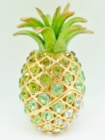 "5"" Green/ White Crystal Pineapple Jewelry Box"