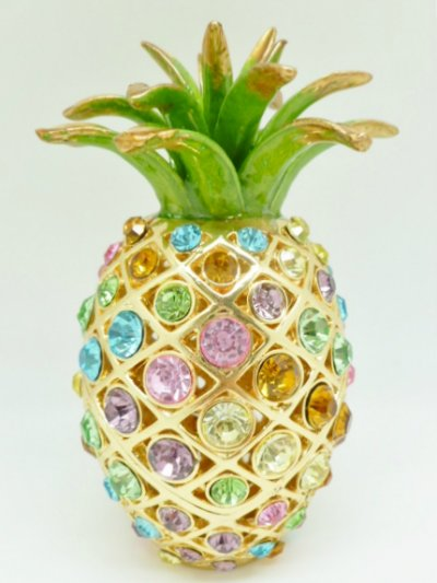"5"" Multi Color Crystal Pineapple Jewelry Box"