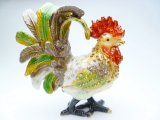 "3"" Crystal Rooster Jewelry Box"