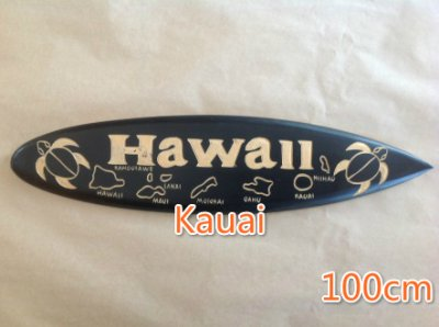 "100CM "" Kauai""w/Hawaiian Islands & Turtle Carved Wood Surfboard"