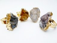 Assorted Druzy Stone Ring, One Size Fits All