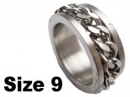(Size 9) Stainless Steel Chain Spin Spinner Ring