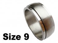 (Size 9) Stainless Steel Spin Spinner Ring