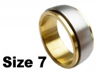 (Size 7) Stainless Steel Gold Tone Spin Spinner Ring