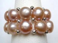 2 Strand Lavender Fresh Water Pearl Stretchy Ring